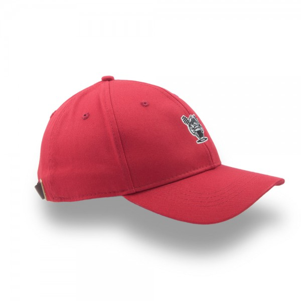 Huni Badger Leather Strapback Red 6-Panel Hat