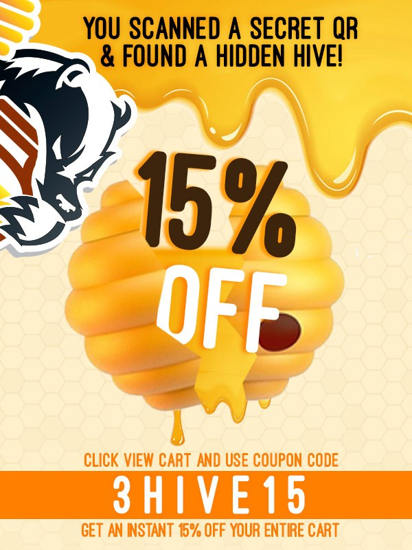 Use coupon code 3HIVE15 for 15% off your Huni Badger Order